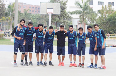 AKGEC Basketball Boys Team after winning their first match.