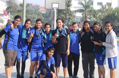 AKGEC Basketball Girls Team after winning their Semi-Final match.